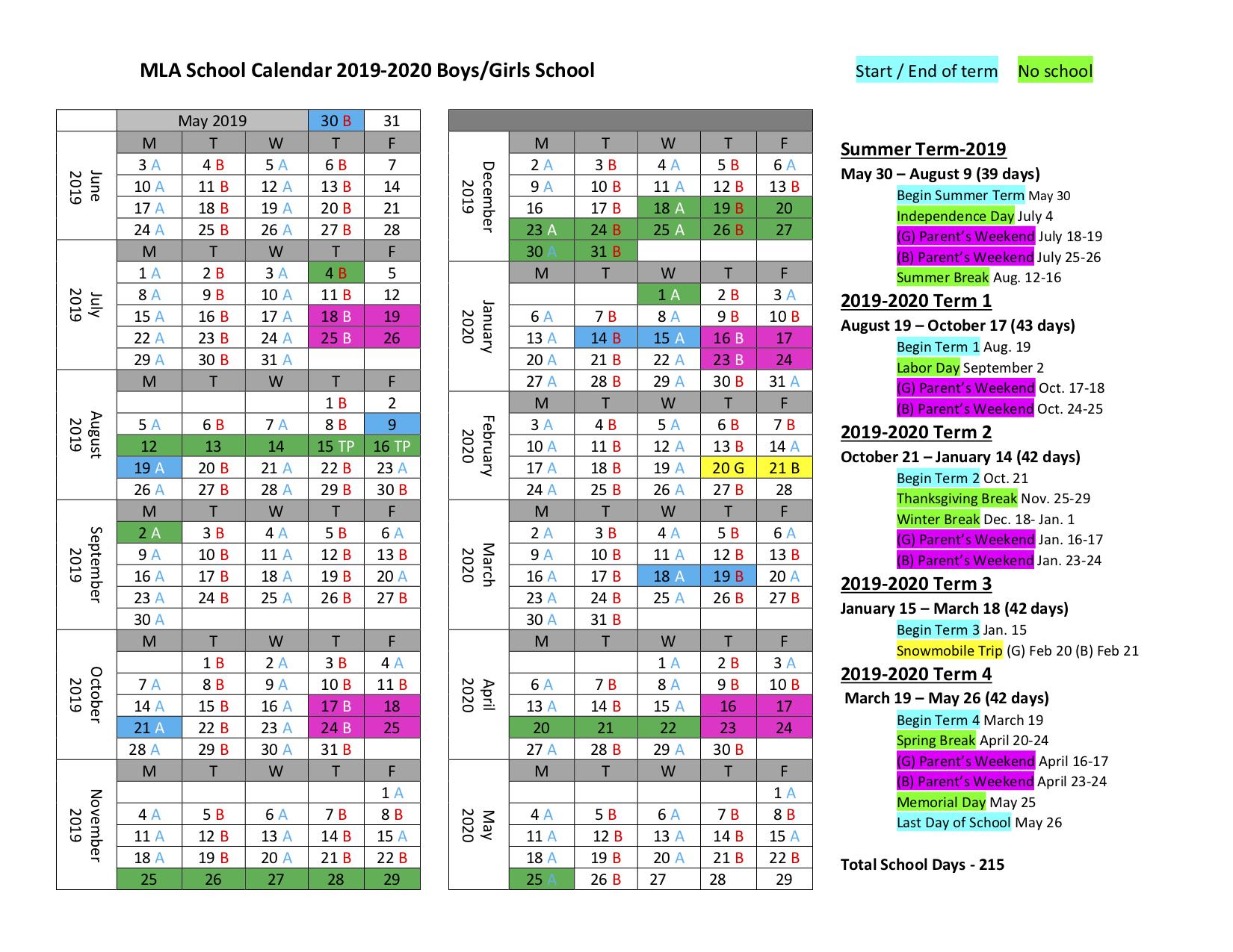 2019-2020 MLA Schedule